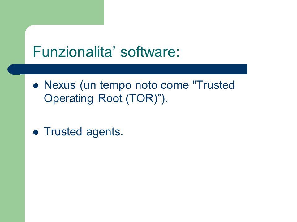 Funzionalita software: Nexus (un tempo noto come Trusted Operating Root (TOR)). Trusted agents.