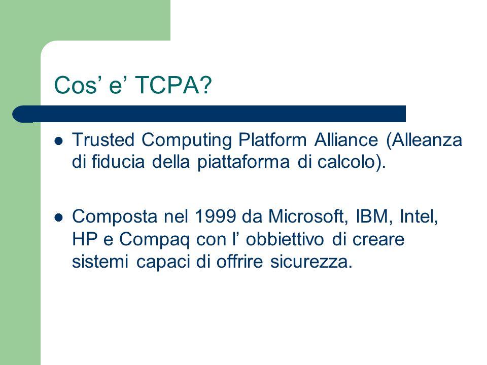 Cos e TCPA? Trusted Computing Platform Alliance (Alleanza di fiducia della piattaforma di calcolo). Composta nel 1999 da Microsoft, IBM, Intel, HP e C