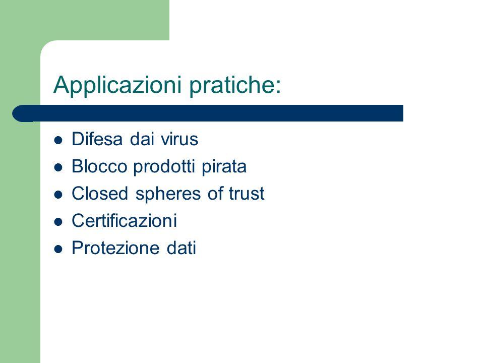 Applicazioni pratiche: Difesa dai virus Blocco prodotti pirata Closed spheres of trust Certificazioni Protezione dati