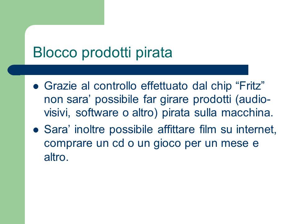 Blocco prodotti pirata Grazie al controllo effettuato dal chip Fritz non sara possibile far girare prodotti (audio- visivi, software o altro) pirata sulla macchina.