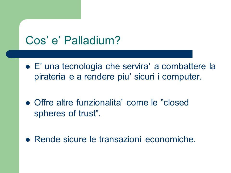 Cos e Palladium? E una tecnologia che servira a combattere la pirateria e a rendere piu sicuri i computer. Offre altre funzionalita come le closed sph