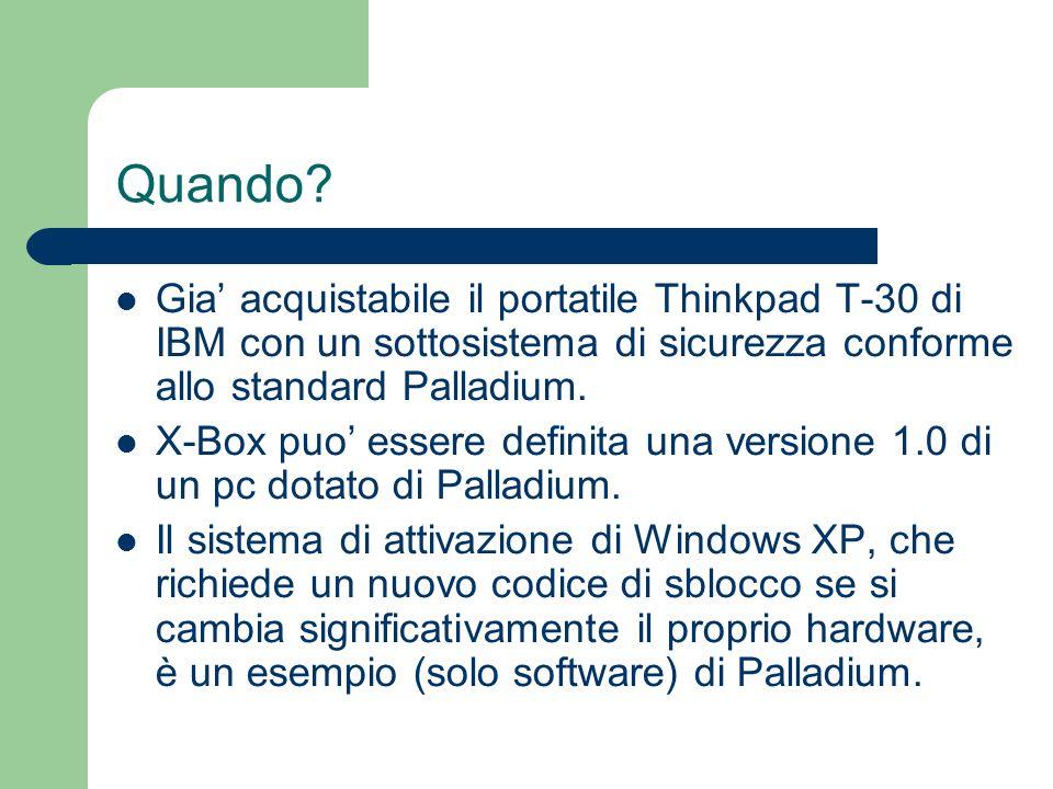 Quando? Gia acquistabile il portatile Thinkpad T-30 di IBM con un sottosistema di sicurezza conforme allo standard Palladium. X-Box puo essere definit
