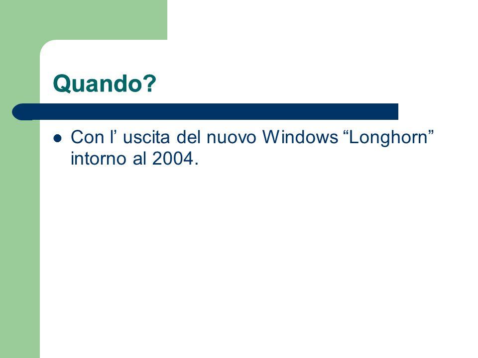 Quando? Con l uscita del nuovo Windows Longhorn intorno al 2004. Quando?