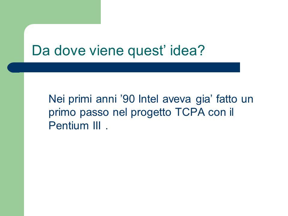 Da dove viene quest idea? Nei primi anni 90 Intel aveva gia fatto un primo passo nel progetto TCPA con il Pentium III.