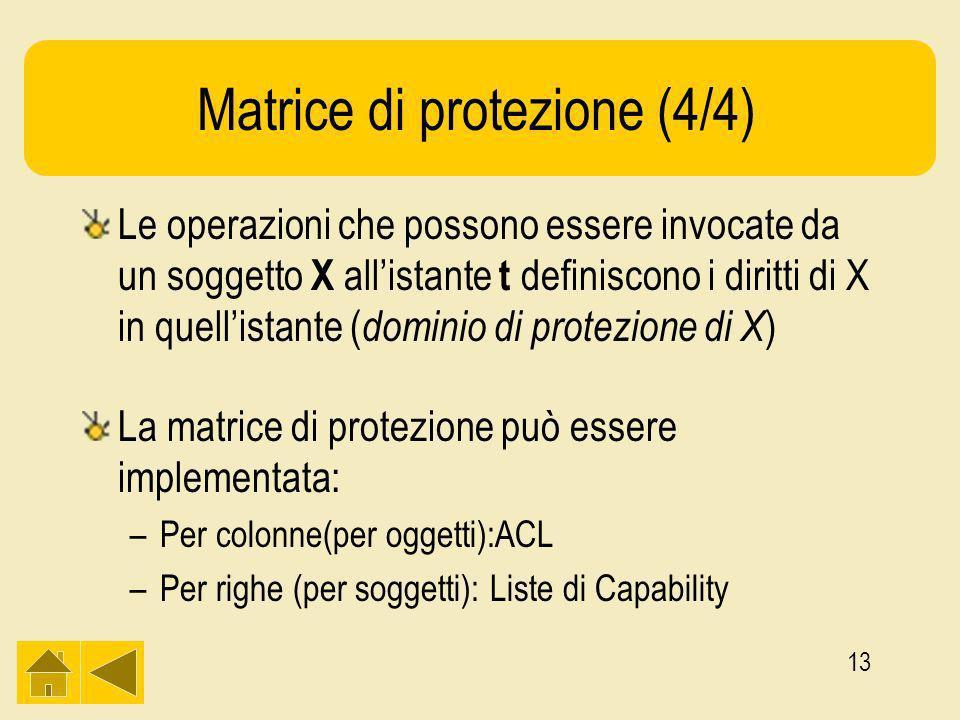 13 Matrice di protezione (4/4) Le operazioni che possono essere invocate da un soggetto X allistante t definiscono i diritti di X in quellistante ( dominio di protezione di X ) La matrice di protezione può essere implementata: –Per colonne(per oggetti):ACL –Per righe (per soggetti): Liste di Capability
