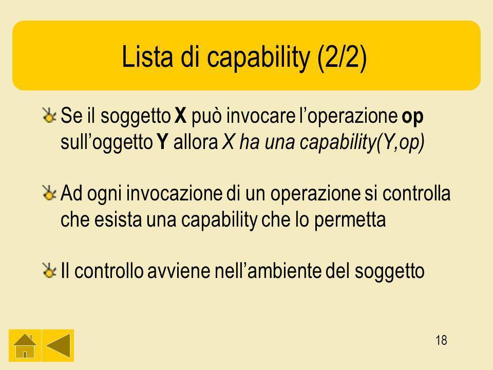 18 Lista di capability (2/2) Se il soggetto X può invocare loperazione op sulloggetto Y allora X ha una capability(Y,op) Ad ogni invocazione di un operazione si controlla che esista una capability che lo permetta Il controllo avviene nellambiente del soggetto