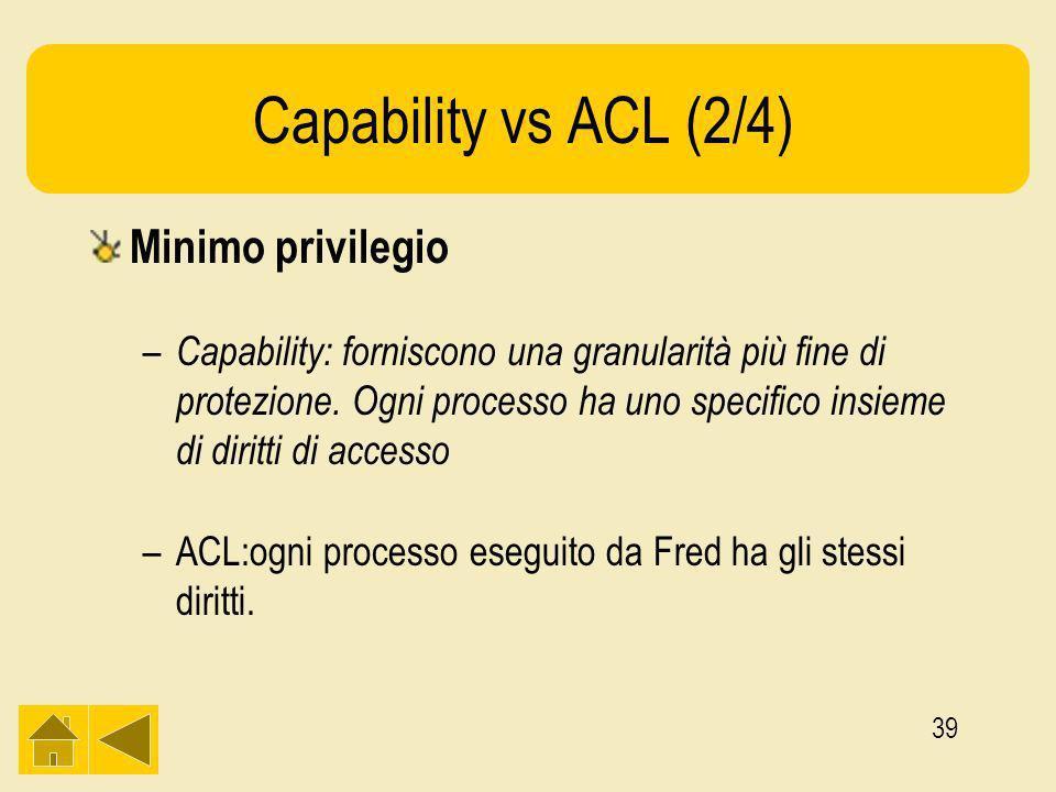 39 Capability vs ACL (2/4) Minimo privilegio – Capability: forniscono una granularità più fine di protezione.