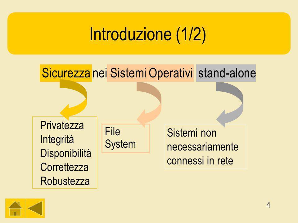 4 Privatezza Integrità Disponibilità Correttezza Robustezza File System Sistemi non necessariamente connessi in rete Introduzione (1/2) Sicurezza nei Sistemi Operativi stand-alone