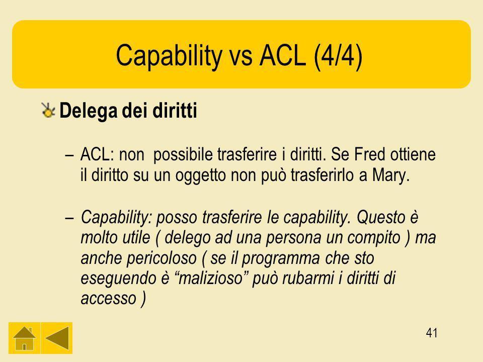 41 Capability vs ACL (4/4) Delega dei diritti –ACL: non possibile trasferire i diritti.