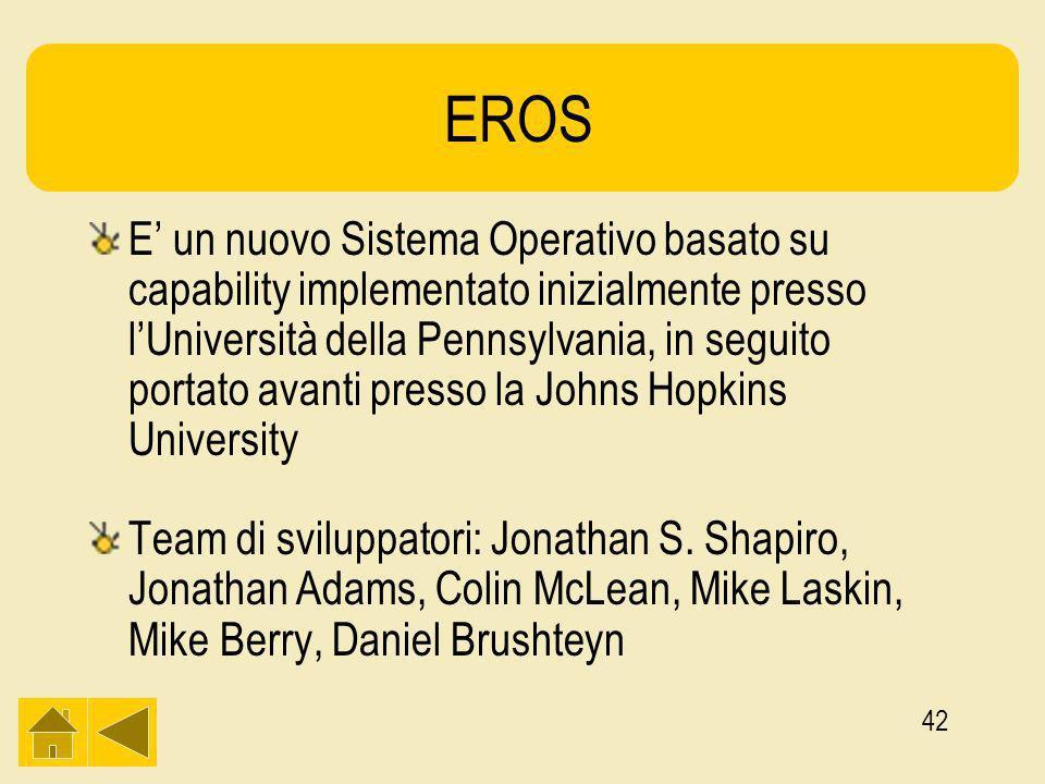 42 EROS E un nuovo Sistema Operativo basato su capability implementato inizialmente presso lUniversità della Pennsylvania, in seguito portato avanti presso la Johns Hopkins University Team di sviluppatori: Jonathan S.