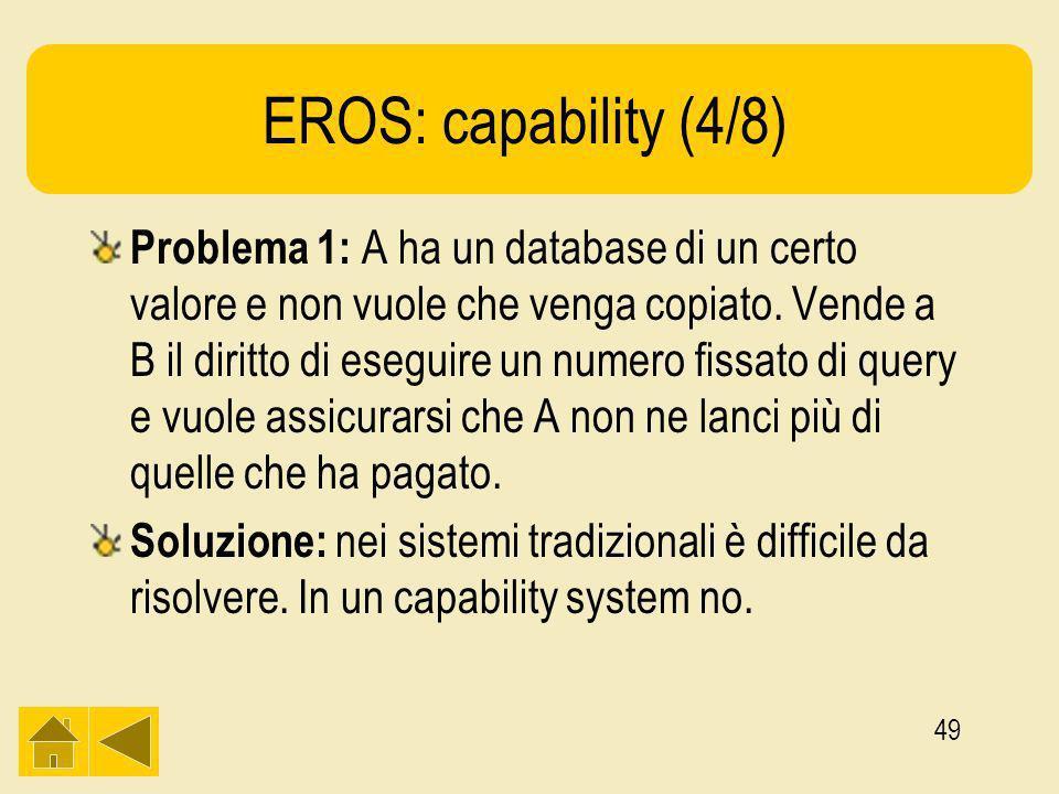 49 EROS: capability (4/8) Problema 1: A ha un database di un certo valore e non vuole che venga copiato.