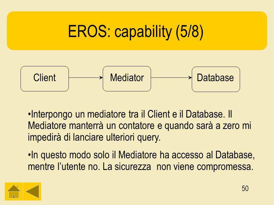50 EROS: capability (5/8) ClientMediatorDatabase Interpongo un mediatore tra il Client e il Database.