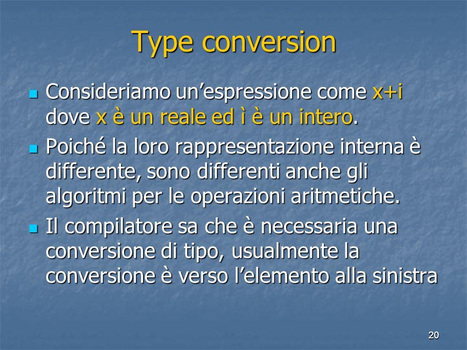 20 Type conversion Consideriamo unespressione come x+i dove x è un reale ed ì è un intero. Consideriamo unespressione come x+i dove x è un reale ed ì