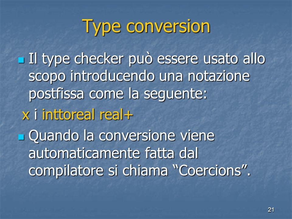21 Type conversion Il type checker può essere usato allo scopo introducendo una notazione postfissa come la seguente: Il type checker può essere usato allo scopo introducendo una notazione postfissa come la seguente: x i inttoreal real+ x i inttoreal real+ Quando la conversione viene automaticamente fatta dal compilatore si chiama Coercions.