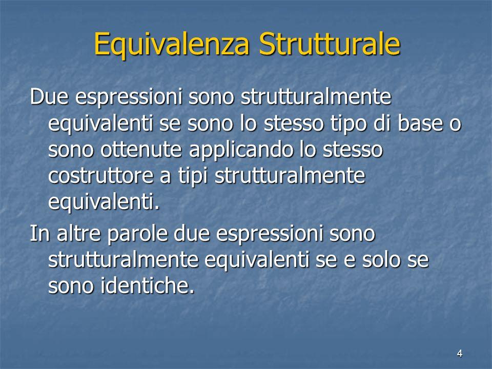 4 Equivalenza Strutturale Due espressioni sono strutturalmente equivalenti se sono lo stesso tipo di base o sono ottenute applicando lo stesso costruttore a tipi strutturalmente equivalenti.