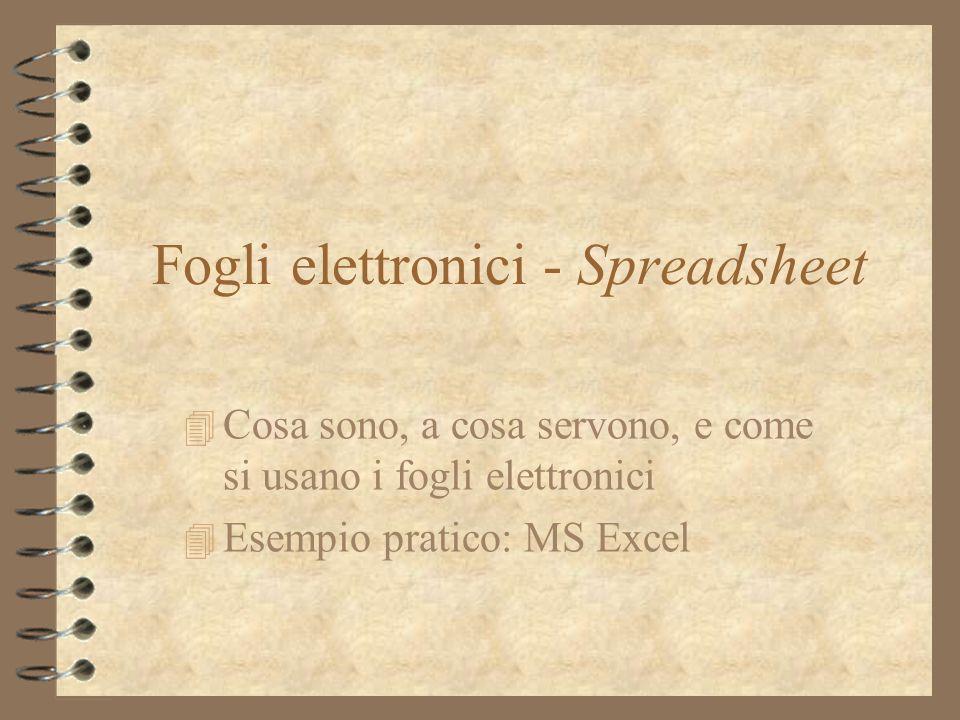 Fogli elettronici - Spreadsheet 4 Cosa sono, a cosa servono, e come si usano i fogli elettronici 4 Esempio pratico: MS Excel
