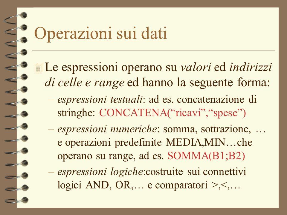 Operazioni sui dati 4 Le espressioni operano su valori ed indirizzi di celle e range ed hanno la seguente forma: –espressioni testuali: ad es. concate
