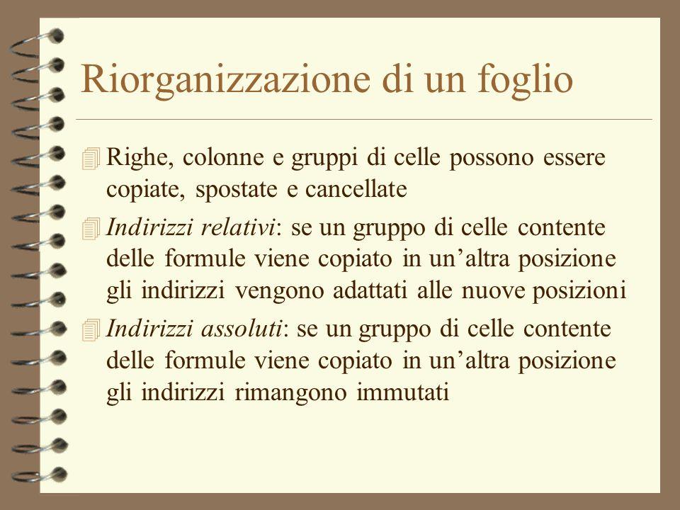 Riorganizzazione di un foglio 4 Righe, colonne e gruppi di celle possono essere copiate, spostate e cancellate 4 Indirizzi relativi: se un gruppo di c