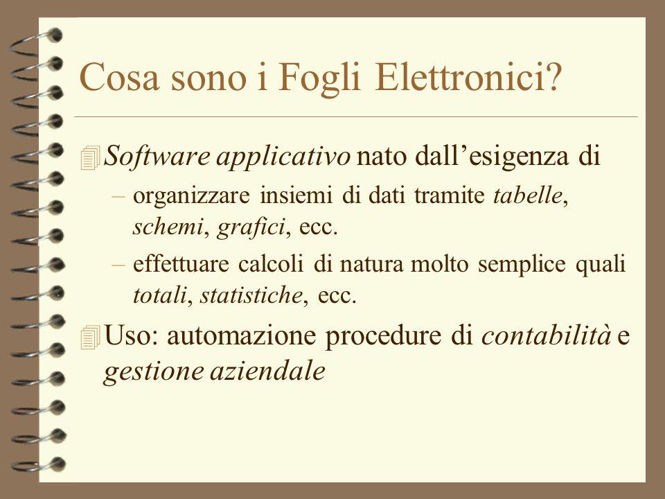 Cosa sono i Fogli Elettronici? 4 Software applicativo nato dallesigenza di –organizzare insiemi di dati tramite tabelle, schemi, grafici, ecc. –effett