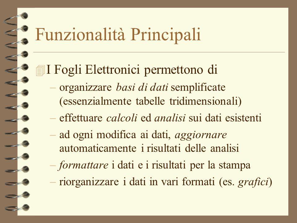 Funzionalità Principali 4 I Fogli Elettronici permettono di –organizzare basi di dati semplificate (essenzialmente tabelle tridimensionali) –effettuar