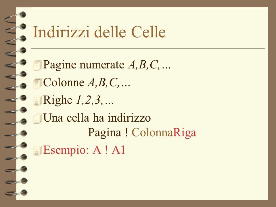 Indirizzi delle Celle 4 Pagine numerate A,B,C,… 4 Colonne A,B,C,… 4 Righe 1,2,3,… 4 Una cella ha indirizzo Pagina ! ColonnaRiga 4 Esempio: A ! A1