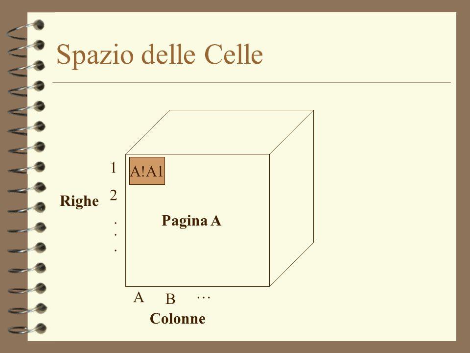 Dati in una pagina 4 Le pagine vengono visualizzate come tabelle (con colonne A,B,C,… e righe 1,2,…) 4 I dati in una pagina vengono gestiti tramite matrici che identificano un insieme di celle 4 Ad es.