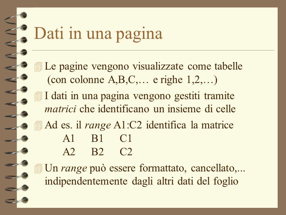 Dati in una pagina 4 Le pagine vengono visualizzate come tabelle (con colonne A,B,C,… e righe 1,2,…) 4 I dati in una pagina vengono gestiti tramite ma
