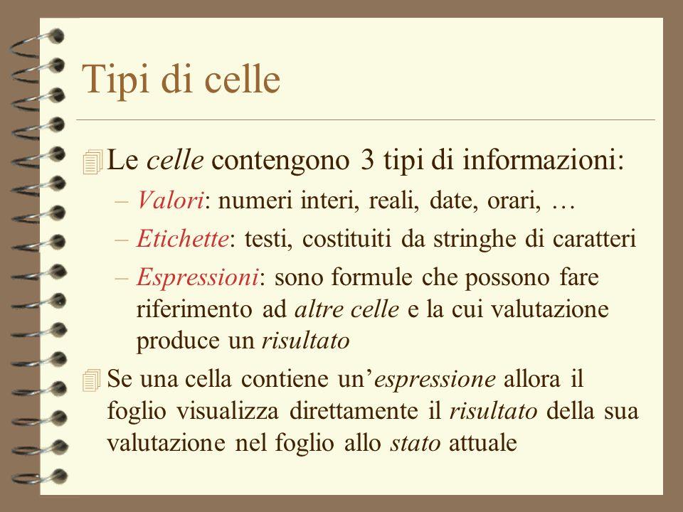 Tipi di celle 4 Le celle contengono 3 tipi di informazioni: –Valori: numeri interi, reali, date, orari, … –Etichette: testi, costituiti da stringhe di