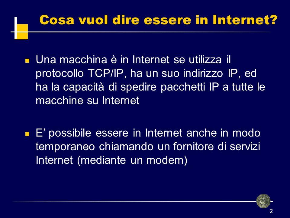 3 TCP/IP Transmission Control Protocol/Internet Protocol suite di protocolli di comunicazione usati per connettere un host alla rete IP specifica il formato dei pacchetti lo schema di indirizzamento (per localizzare i calcolatori nella rete)