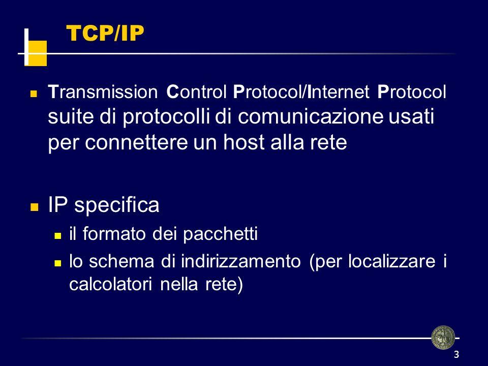4 Gli indirizzi sono a 32 bit Una volta identificato lindirizzo del nodo destinatario, IP si occupa dellinstradamento dei pacchetti TCP/IP Net id Host id 130.192.239.1