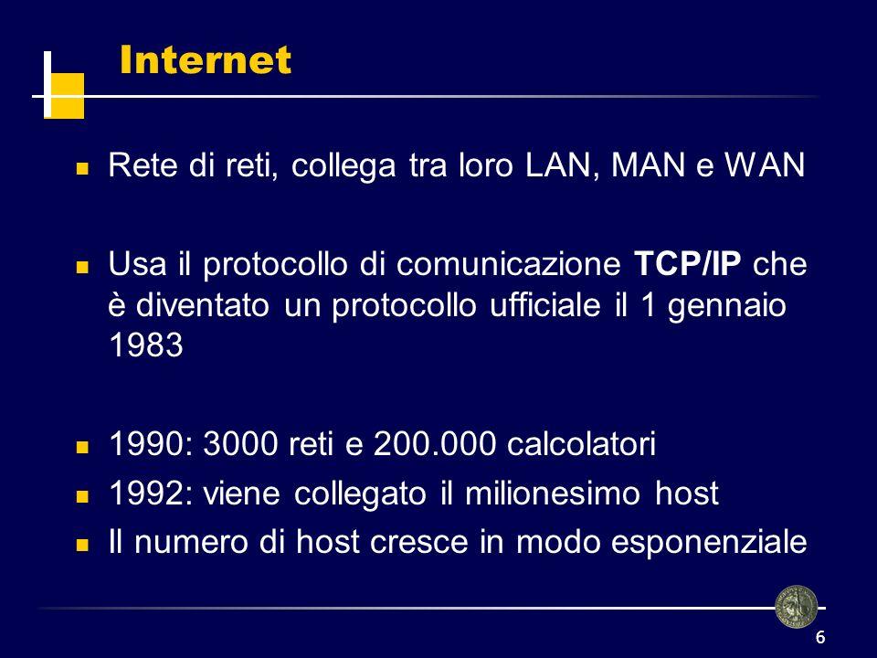 7 Protocolli applicativi Al di sopra del protocollo TCP/IP ci sono i protocolli applicativi sui quali si basano le applicazioni che siamo abituati ad usare quando navighiamo in rete TELNET FTP (File Transfer Protocol) SMTP (Simple Mail Transfer Protocol) HTTP (HyperText Transfer Protocol)