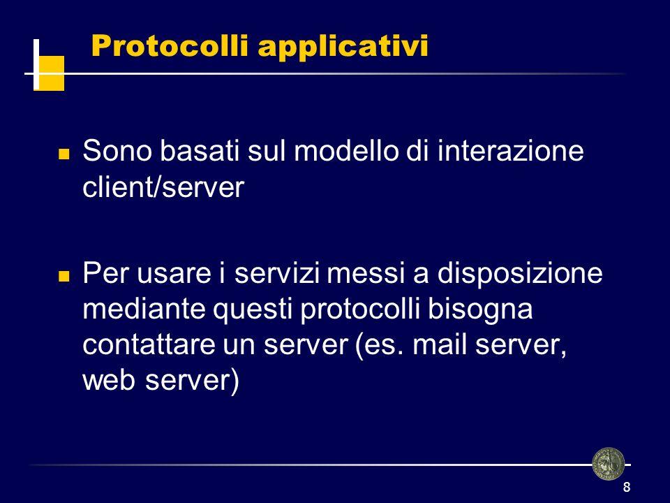 9 Posta elettronica (E-mail) Si basa sul protocollo SMTP e permette lo scambio dei messaggi tra gli utenti collegati alla rete È necessario fornire lindirizzo del destinatario il corpo del messaggio Gli indirizzi devono avere un formato ben preciso.