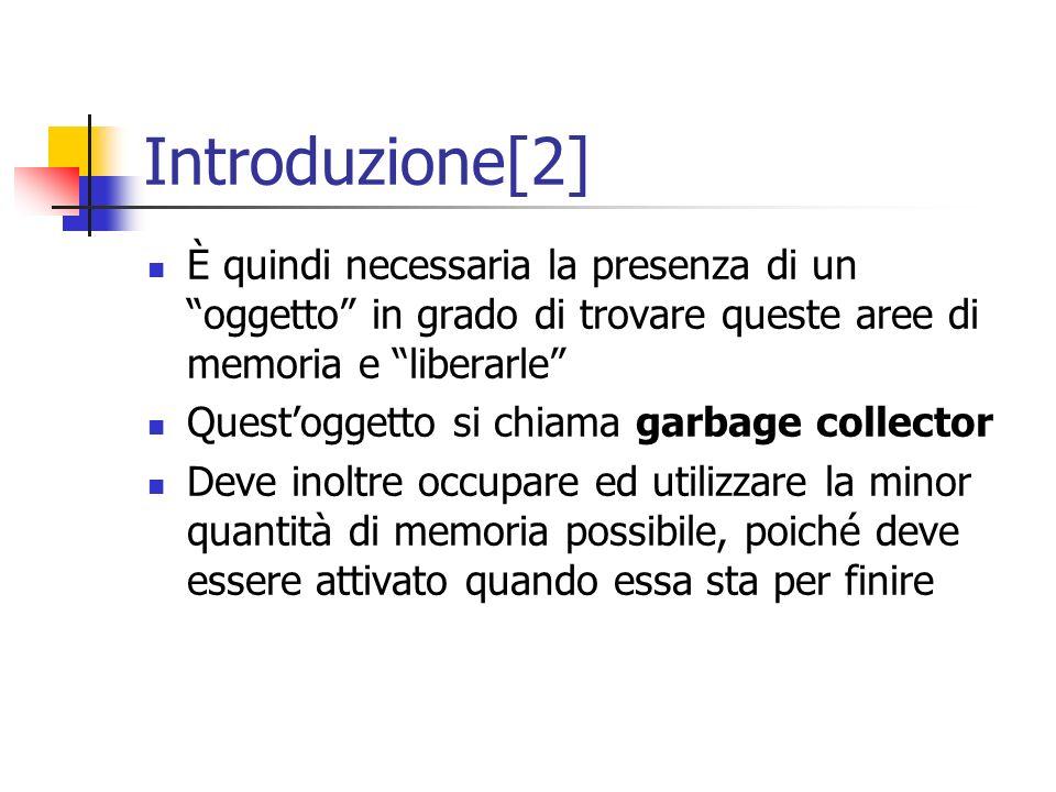 Introduzione[2] È quindi necessaria la presenza di un oggetto in grado di trovare queste aree di memoria e liberarle Questoggetto si chiama garbage co