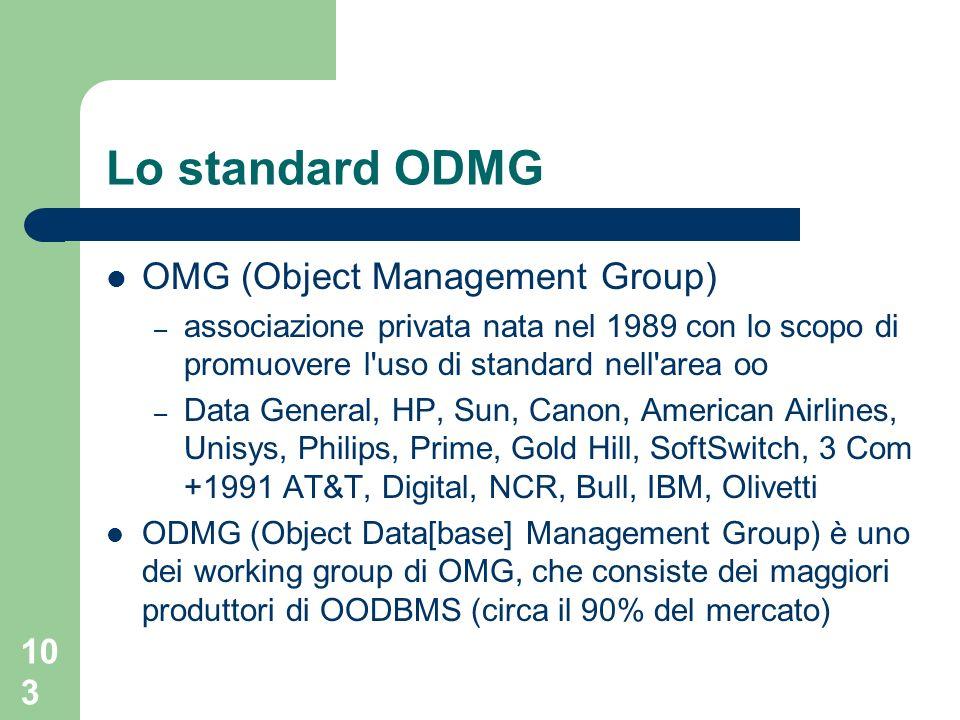 103 Lo standard ODMG OMG (Object Management Group) – associazione privata nata nel 1989 con lo scopo di promuovere l uso di standard nell area oo – Data General, HP, Sun, Canon, American Airlines, Unisys, Philips, Prime, Gold Hill, SoftSwitch, 3 Com +1991 AT&T, Digital, NCR, Bull, IBM, Olivetti ODMG (Object Data[base] Management Group) è uno dei working group di OMG, che consiste dei maggiori produttori di OODBMS (circa il 90% del mercato)