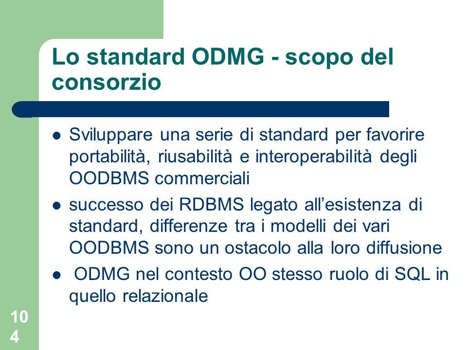 104 Lo standard ODMG - scopo del consorzio Sviluppare una serie di standard per favorire portabilità, riusabilità e interoperabilità degli OODBMS commerciali successo dei RDBMS legato allesistenza di standard, differenze tra i modelli dei vari OODBMS sono un ostacolo alla loro diffusione ODMG nel contesto OO stesso ruolo di SQL in quello relazionale
