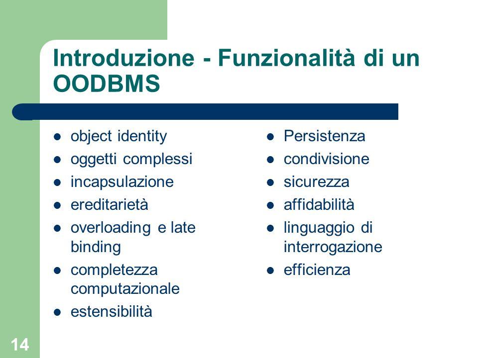 14 Introduzione - Funzionalità di un OODBMS object identity oggetti complessi incapsulazione ereditarietà overloading e late binding completezza computazionale estensibilità Persistenza condivisione sicurezza affidabilità linguaggio di interrogazione efficienza