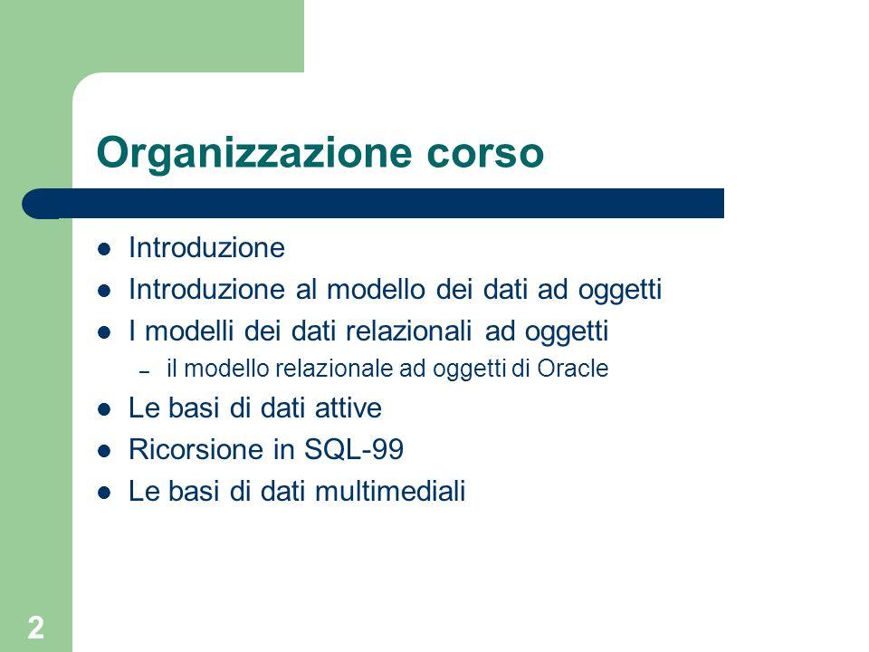 2 Organizzazione corso Introduzione Introduzione al modello dei dati ad oggetti I modelli dei dati relazionali ad oggetti – il modello relazionale ad oggetti di Oracle Le basi di dati attive Ricorsione in SQL-99 Le basi di dati multimediali