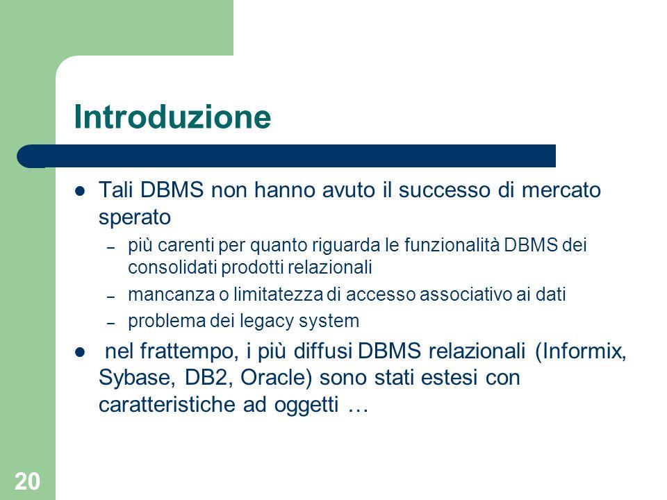 20 Introduzione Tali DBMS non hanno avuto il successo di mercato sperato – più carenti per quanto riguarda le funzionalità DBMS dei consolidati prodotti relazionali – mancanza o limitatezza di accesso associativo ai dati – problema dei legacy system nel frattempo, i più diffusi DBMS relazionali (Informix, Sybase, DB2, Oracle) sono stati estesi con caratteristiche ad oggetti …
