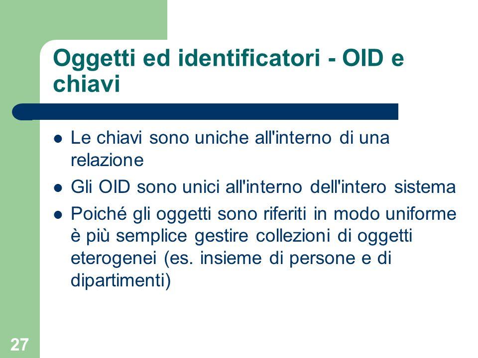 27 Oggetti ed identificatori - OID e chiavi Le chiavi sono uniche all interno di una relazione Gli OID sono unici all interno dell intero sistema Poiché gli oggetti sono riferiti in modo uniforme è più semplice gestire collezioni di oggetti eterogenei (es.