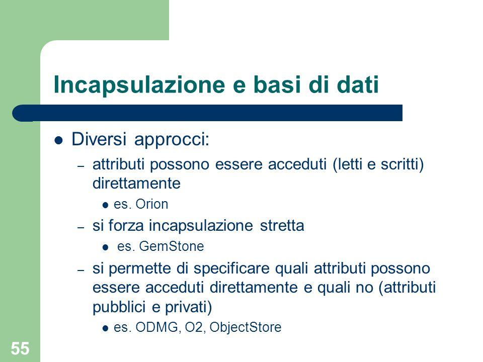 55 Incapsulazione e basi di dati Diversi approcci: – attributi possono essere acceduti (letti e scritti) direttamente es.