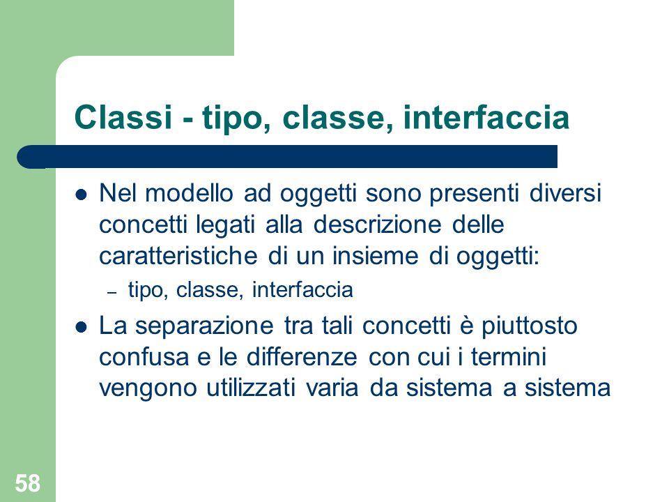 58 Classi - tipo, classe, interfaccia Nel modello ad oggetti sono presenti diversi concetti legati alla descrizione delle caratteristiche di un insieme di oggetti: – tipo, classe, interfaccia La separazione tra tali concetti è piuttosto confusa e le differenze con cui i termini vengono utilizzati varia da sistema a sistema