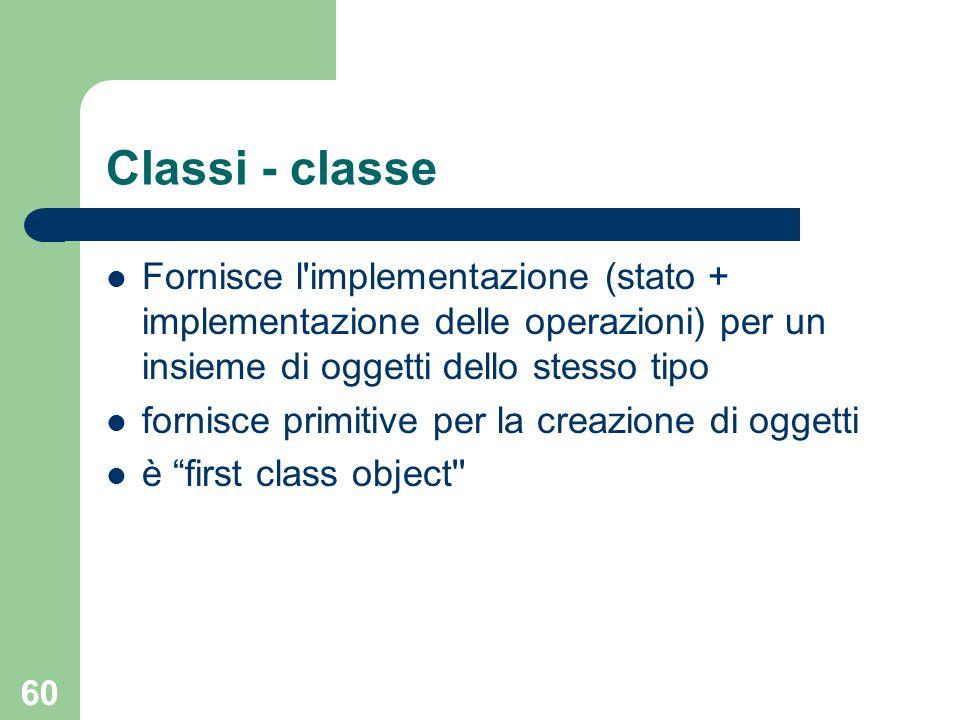 60 Classi - classe Fornisce l implementazione (stato + implementazione delle operazioni) per un insieme di oggetti dello stesso tipo fornisce primitive per la creazione di oggetti è first class object
