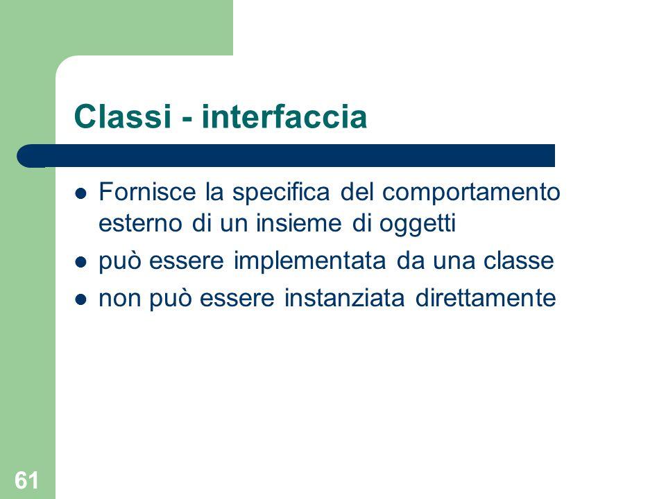 61 Classi - interfaccia Fornisce la specifica del comportamento esterno di un insieme di oggetti può essere implementata da una classe non può essere instanziata direttamente