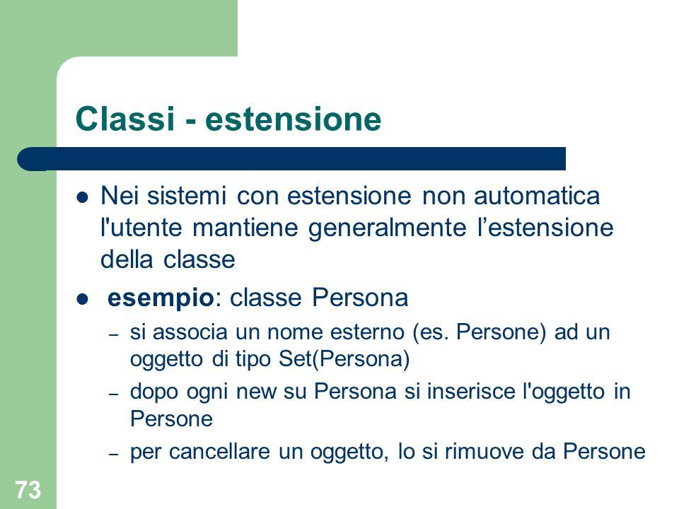 73 Classi - estensione Nei sistemi con estensione non automatica l utente mantiene generalmente lestensione della classe esempio: classe Persona – si associa un nome esterno (es.
