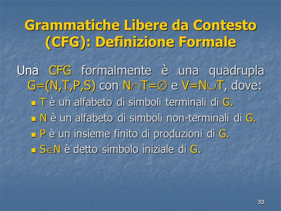 33 Grammatiche Libere da Contesto (CFG): Definizione Formale Una CFG formalmente è una quadrupla G=(N,T,P,S) con N T= e V=N T, dove: T è un alfabeto d