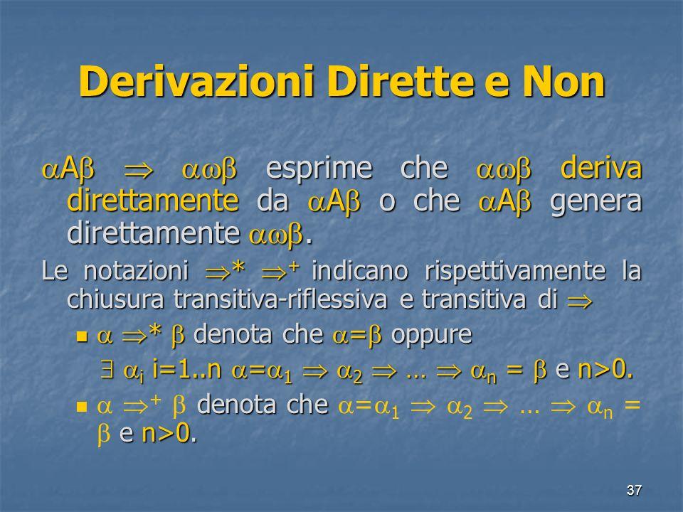 37 Derivazioni Dirette e Non A esprime che deriva direttamente da A o che A genera direttamente. A esprime che deriva direttamente da A o che A genera