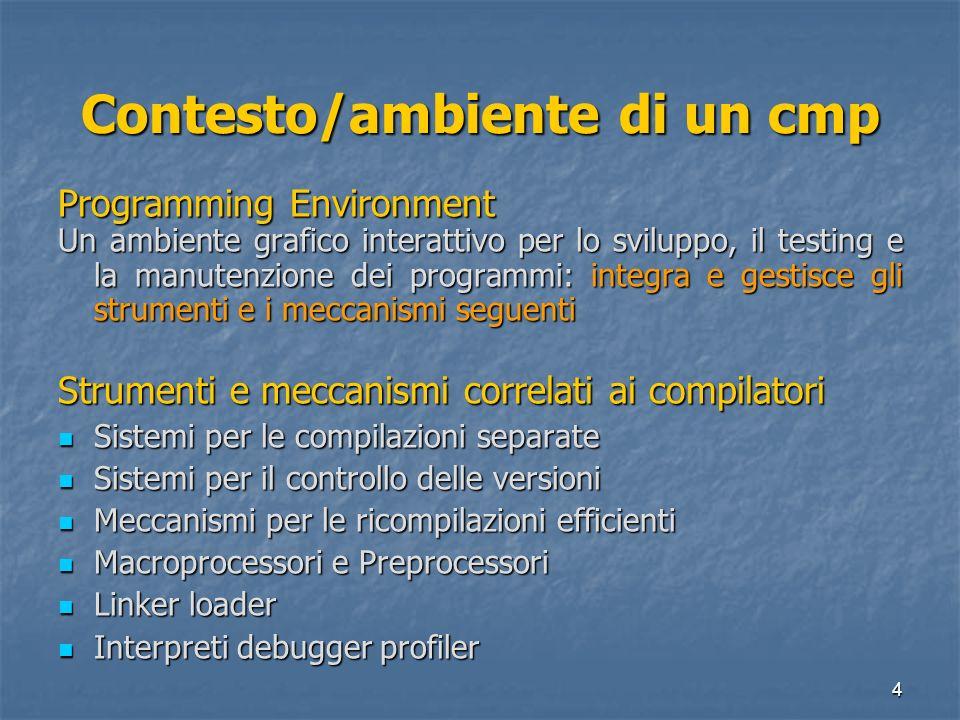 4 Contesto/ambiente di un cmp Programming Environment Un ambiente grafico interattivo per lo sviluppo, il testing e la manutenzione dei programmi: int