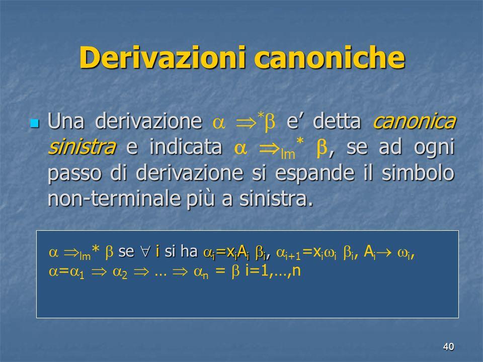 40 Derivazioni canoniche Una derivazione e detta canonica sinistra e indicata, se ad ogni passo di derivazione si espande il simbolo non-terminale più