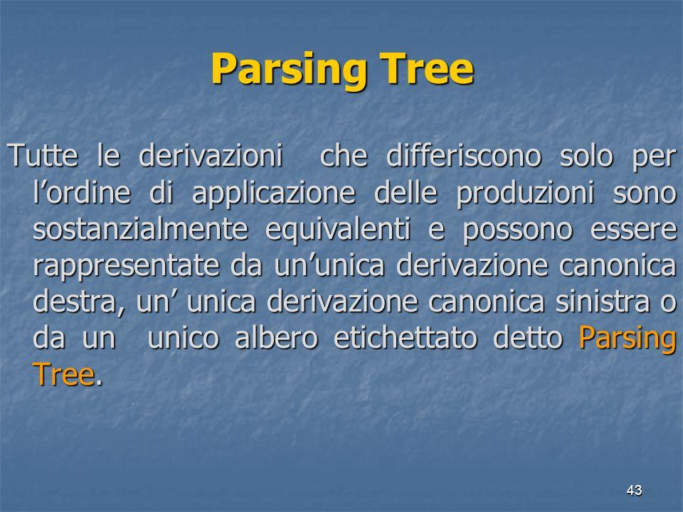 43 Parsing Tree Tutte le derivazioni che differiscono solo per lordine di applicazione delle produzioni sono sostanzialmente equivalenti e possono ess
