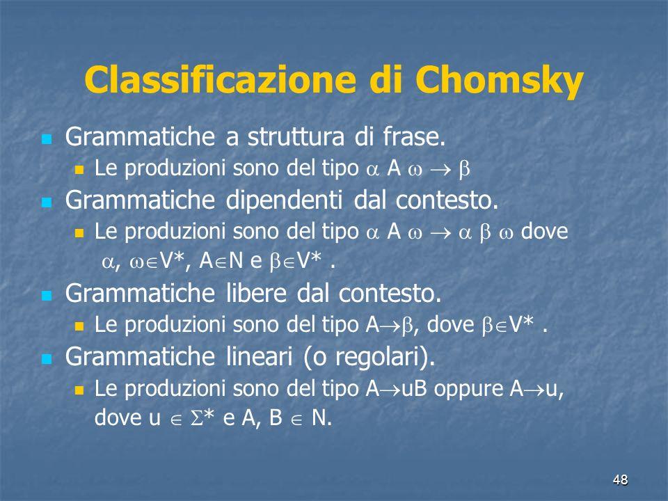 48 Classificazione di Chomsky Grammatiche a struttura di frase. Le produzioni sono del tipo A Grammatiche dipendenti dal contesto. Le produzioni sono